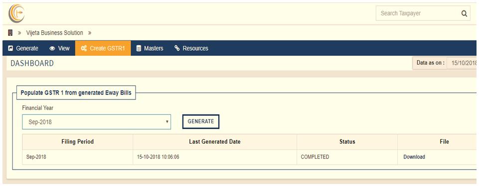 Generate GSTR 1 from EWay Bills
