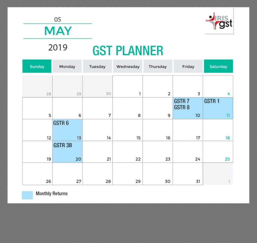 May Calender GST
