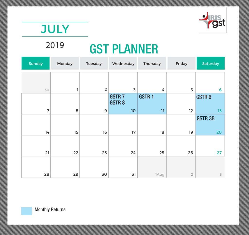 July 2019 GST Compliance Calendar