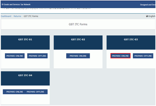 ITC Form prepare online