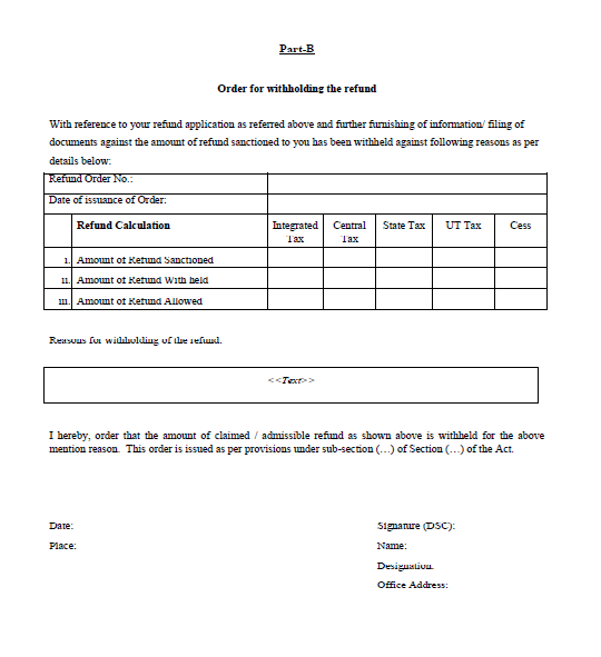 Form-GST-RFD-07 Part B