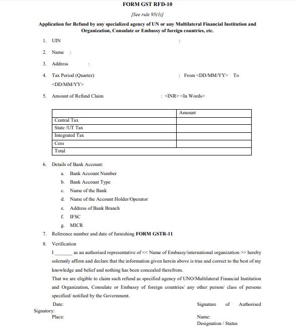 GST RFD-10 Form