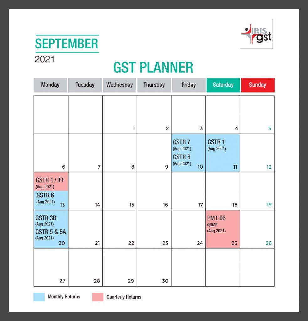 GST Compliance Calendar-September